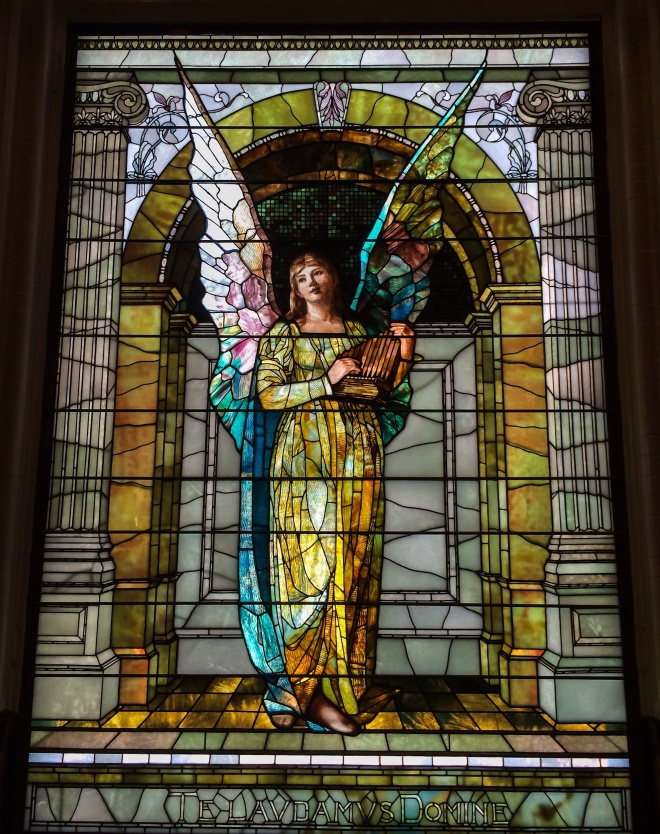 Praise Angel Window Stained Glass by Frederick Lincoln Stoddard - Reid Memorial Library