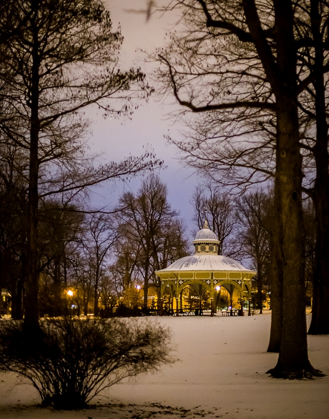 Old Playground Pavilion in Snow - Tower Grove Park, St. Louis - Night Photography