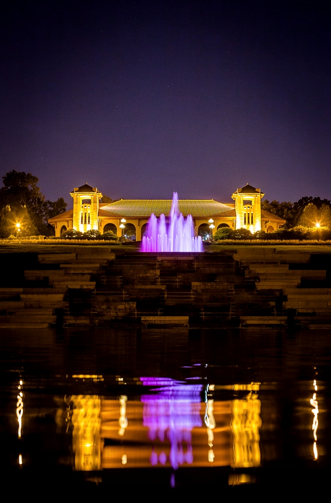 worlds fair pavilion with fountain at night-3 small